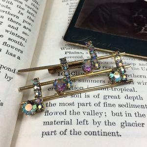 Vintage Jewelry - Vintage Auroro Borealis Music Note Staff Brooch